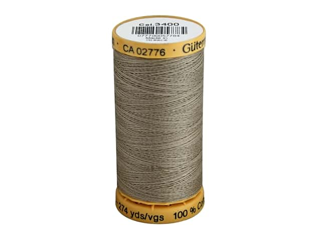 Gutermann 100% Natural Cotton Sewing Thread 273 yd. #3400 Khaki