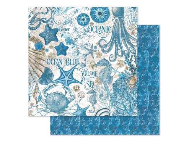 Graphic 45 Collection Ocean Blue Paper 12 in. x 12 in. Ocean Blue