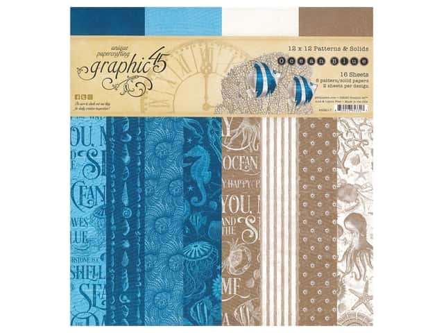 Graphic 45 Paper Pad 12 x 12 in. Ocean Blue Pattern & Solids