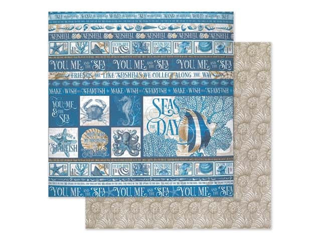 Graphic 45 Collection Ocean Blue Paper 12 in. x 12 in. Corfu
