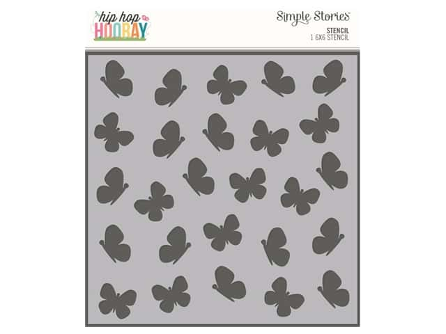 Simple Stories Collection Hip Hop Hooray Stencil 6 in. x 6 in. Butterfly