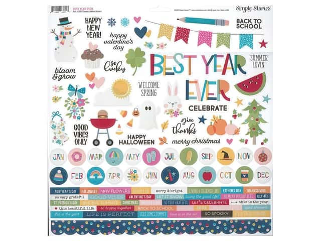 Simple Stories Collection Best Year Ever Sticker Combo 12 in. x 12 in.