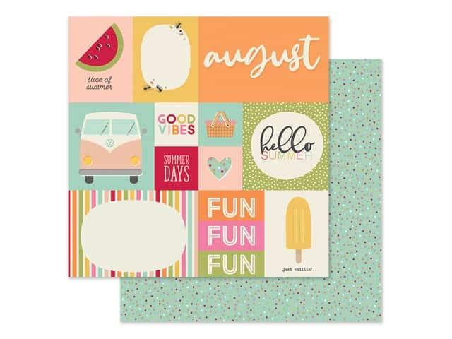Simple Stories Collection Best Year Ever Paper 12 in. x 12 in. August