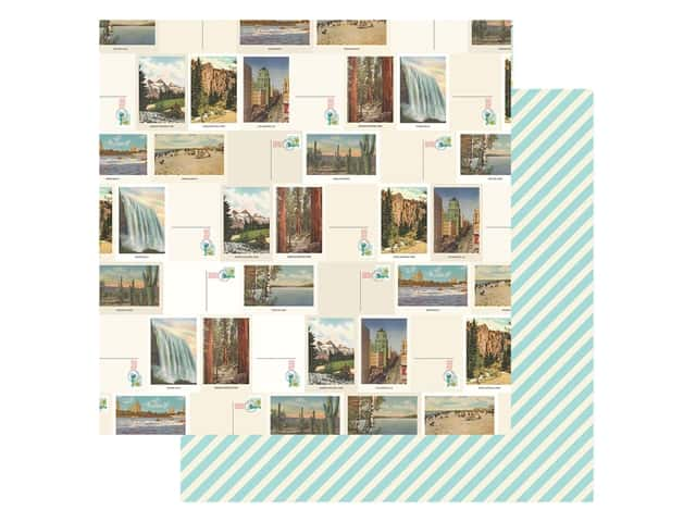 Simple Stories Collection Going Places Paper 12 in. x 12 in. Lets Get Lost