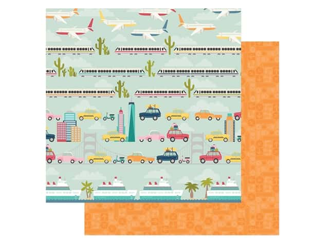 Simple Stories Collection Going Places Paper 12 in. x 12 in. Enjoy The Ride
