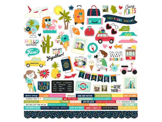 Simple Stories Collection Going Places Sticker Combo 12 in. x 12 in.