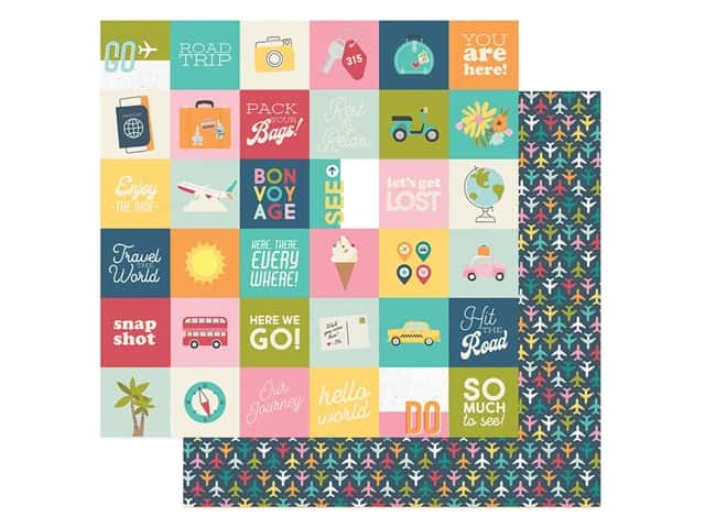 Simple Stories Collection Going Places Paper 12 in. x 12 in. Elements 2 in. x 2 in.