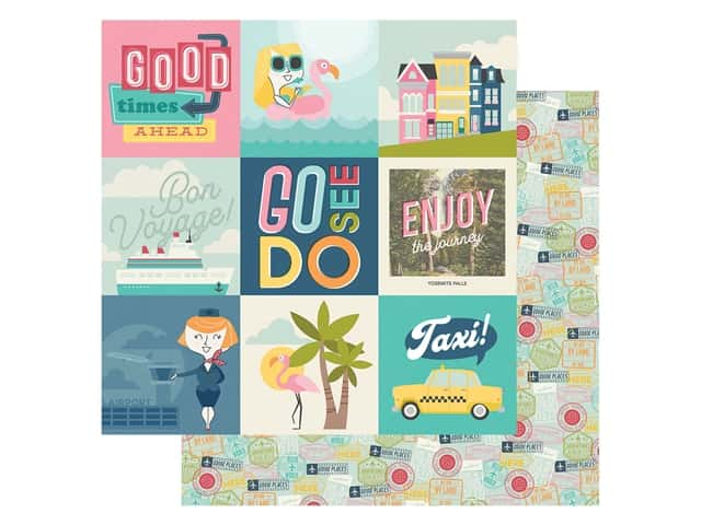Simple Stories Collection Going Places Paper 12 in. x 12 in. Elements 4 in. x 4 in.