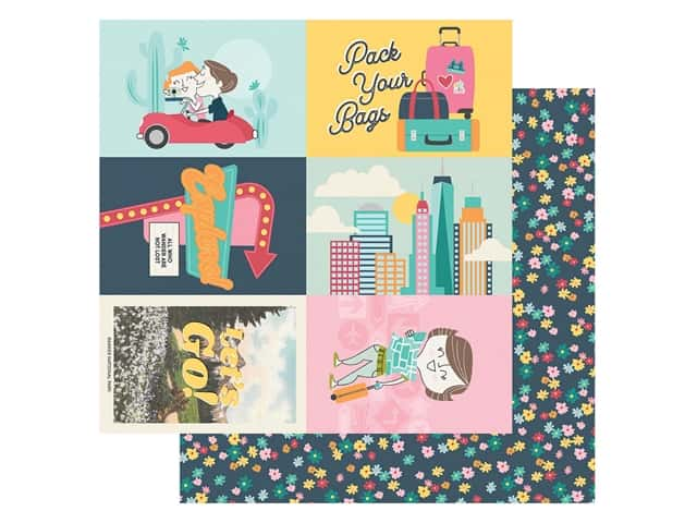 Simple Stories Collection Going Places Paper 12 in. x 12 in. Elements 4 in. x 6 in.