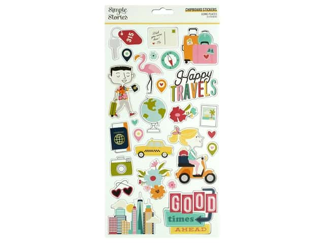 Simple Stories Collection Going Places Sticker Chipboard 6 in. x 12 in.
