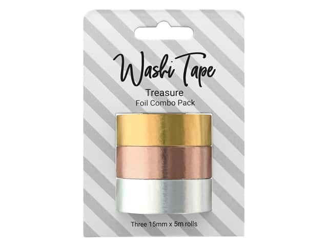 PA Essentials Washi Tape 15 mm x 5 m 3 pc Combo Pack Foil Treasure