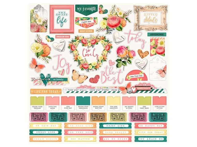 Simple Stories Collection Simple Vintage Garden District Sticker Combo12 in. x 12 in.