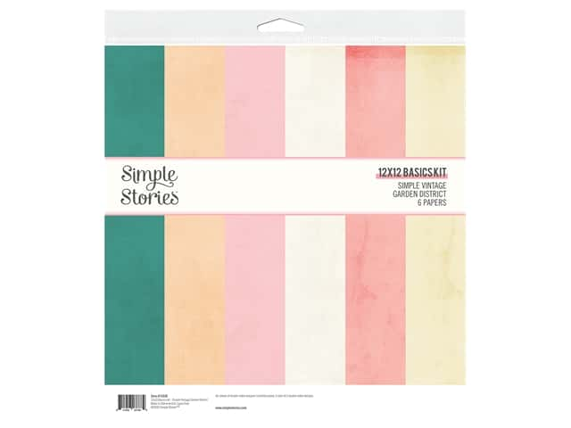 Simple Stories Collection Simple Vintage Garden District Basics Kit 12 in. x 12 in.