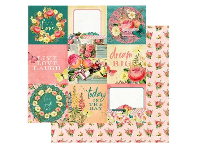Simple Stories Collection Simple Vintage Garden District Paper 12 in. x 12 in. Elements 4 in. x 4 in.