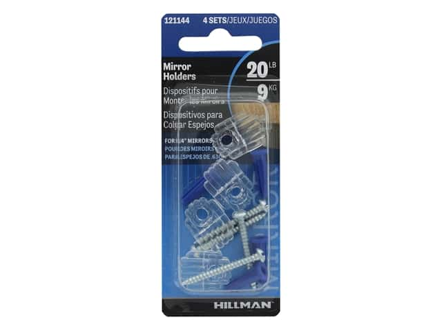 Hillman Mirror Holder With Anchors Clear 4pc