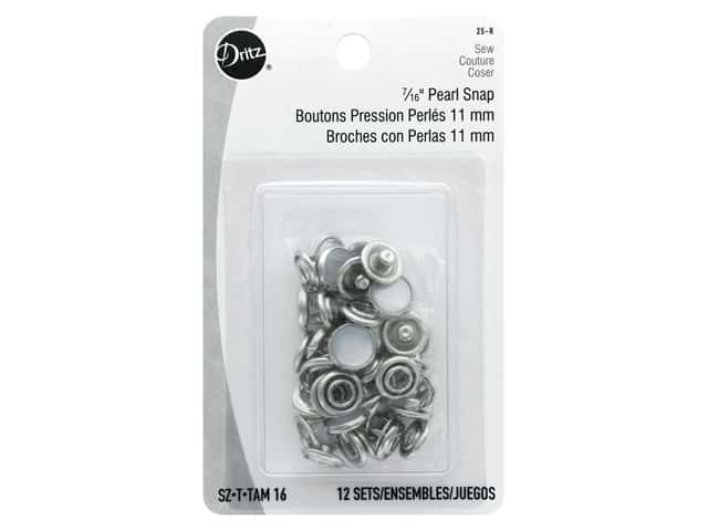 Dritz Pearl Snap Fasteners 7/16 in. White 12 pc.