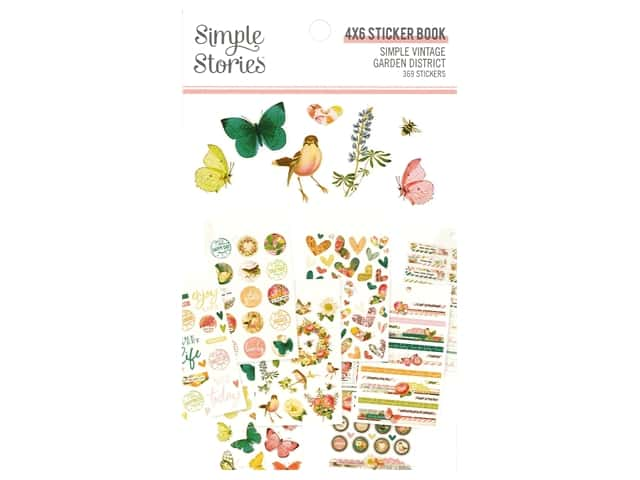 Simple Stories Collection Simple Vintage Garden District Sticker Book 4 in. x 6 in.