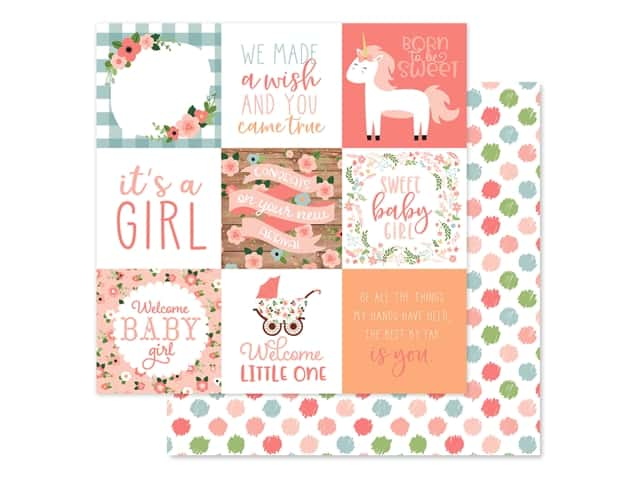 Echo Park Baby Girl Collection Paper 12 in. x 12 in. Journaling Cards 4 in. x 4 in.