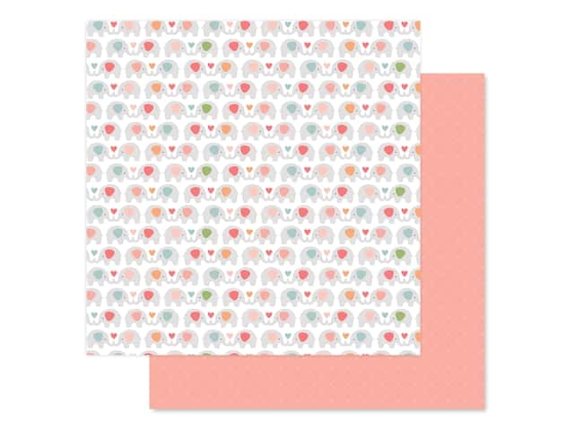 Echo Park Baby Girl Collection Paper 12 in. x 12 in. Sweet Elephants