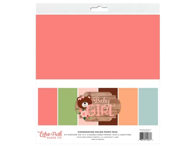 Echo Park Baby Girl Collection Solids Kit 12 in. x 12 in.