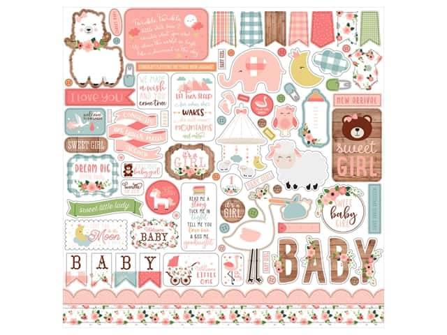 Echo Park Baby Girl Collection Sticker in. Elements
