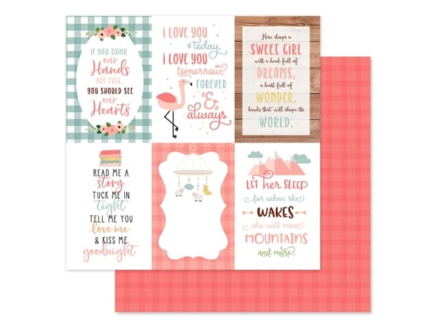 Echo Park Baby Girl Collection Paper 12 in. x 12 in. Journaling Cards 4 in. x 6 in.