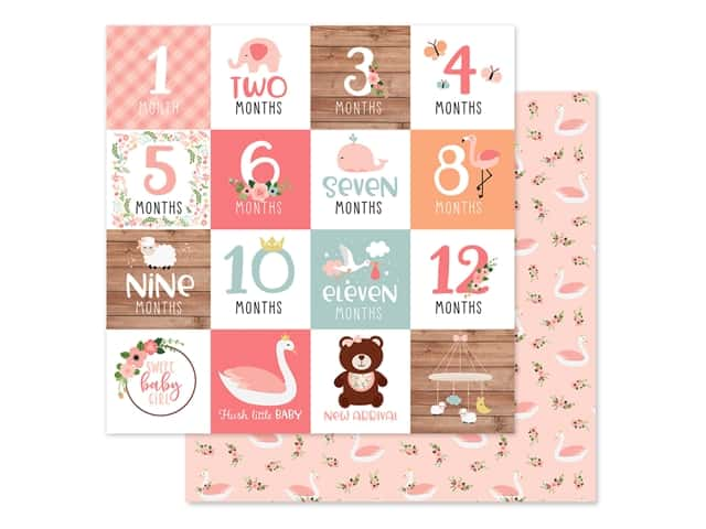 Echo Park Baby Girl Collection Paper 12 in. x 12 in. Milestone Cards