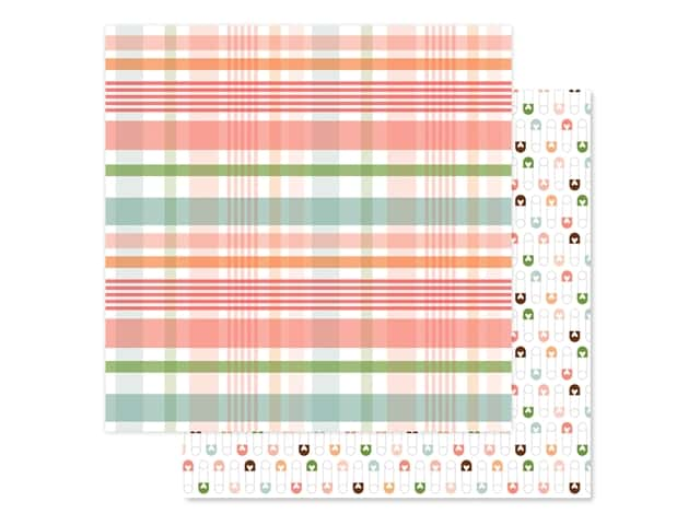 Echo Park Baby Girl Collection Paper 12 in. x 12 in. Plaid New Arrival