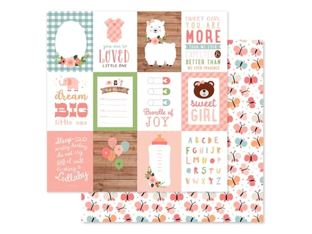 Echo Park Baby Girl Collection Paper 12 in. x 12 in. Journaling Cards 3 in. x 4 in.