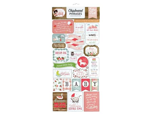 Echo Park Baby Girl Collection Chipboard 6 in. x 12 in. Phrases