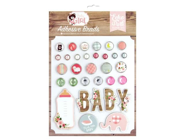 Echo Park Baby Girl Collection Adhesive Brads