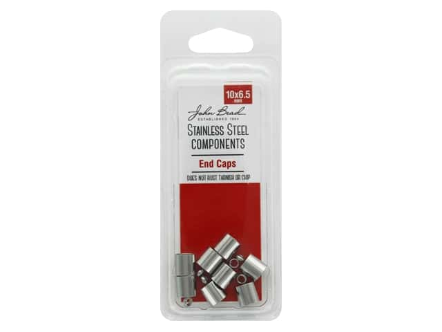 John Bead Findings Stainless Steel End Cap 10x6.5mm 8pc