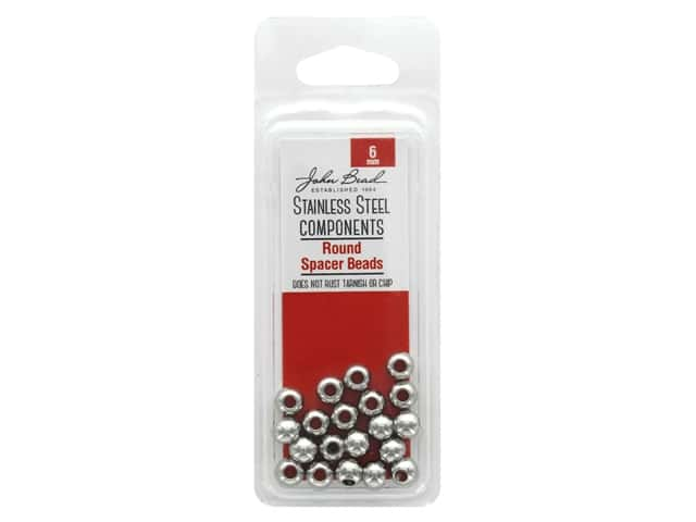 John Bead Findings Stainless Steel Spacer Bead 6mm Round 20pc
