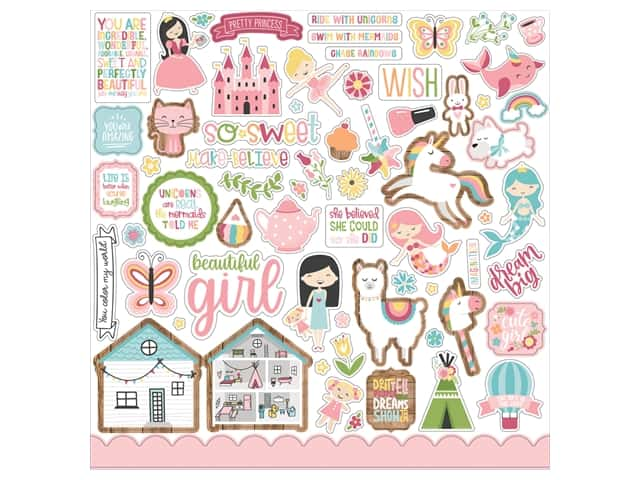 Echo Park Collection All Girl Sticker 12 in. x 12 in.