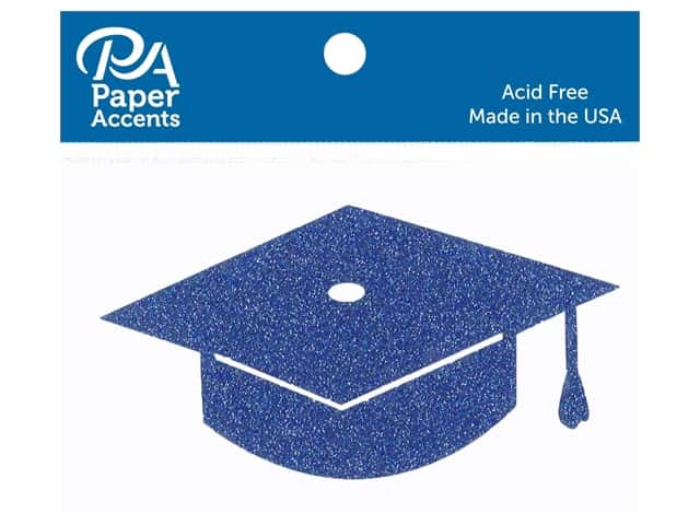 Paper Accents Glitter Shape Graduation Cap Jewel Blue 6pc