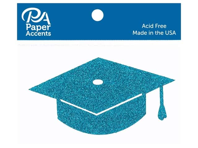 Paper Accents Glitter Shape Graduation Cap Ocean Blue 6pc