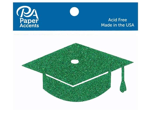Paper Accents Glitter Shape Graduation Cap Green 6pc
