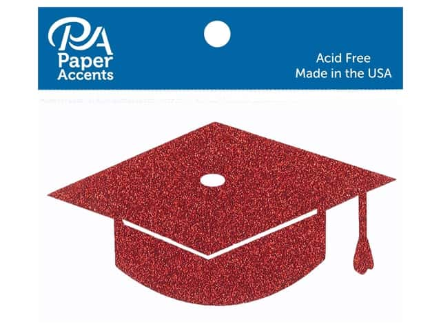 Paper Accents Glitter Shape Graduation Cap Red 6pc