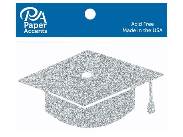 Paper Accents Glitter Shape Graduation Cap Silver 6pc