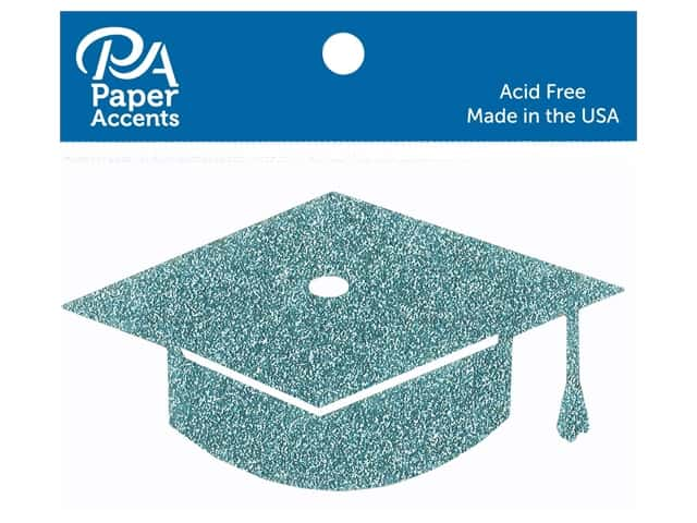 Paper Accents Glitter Shape Graduation Cap Sky Blue 6pc