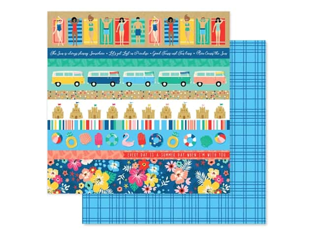 Echo Park Collection Dive Into Summer Paper 12 in. x 12 in. Border Strips