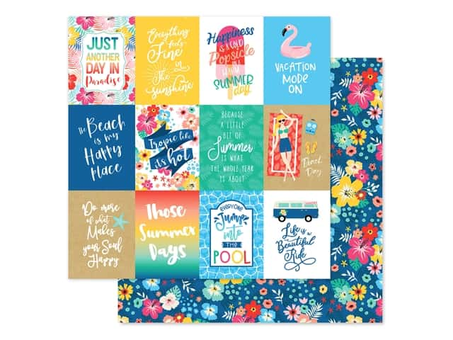 Echo Park Collection Dive Into Summer Paper 12 in. x 12 in. Journaling Cards 3 in. x 4 in.