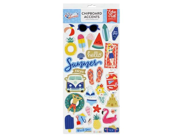 Echo Park Collection Dive Into Summer Chipboard 6 in. x 12 in. Accents