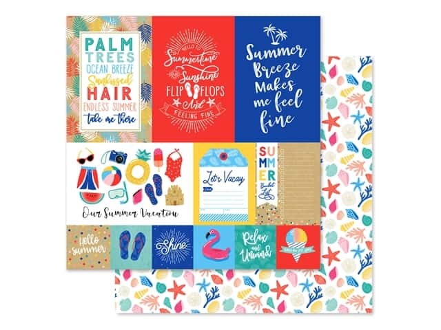 Echo Park Collection Dive Into Summer Paper 12 in. x 12 in. Journaling Cards Multi