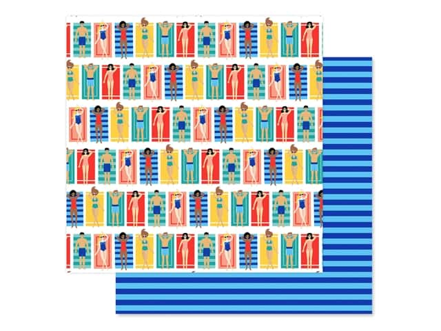 Echo Park Collection Dive Into Summer Paper 12 in. x 12 in. Beach Loungers