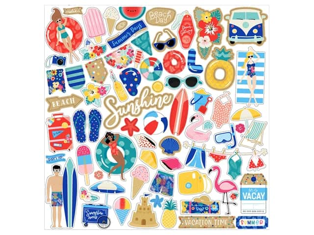Echo Park 12 x 12 in. Elements Stickers Dive Into Summer