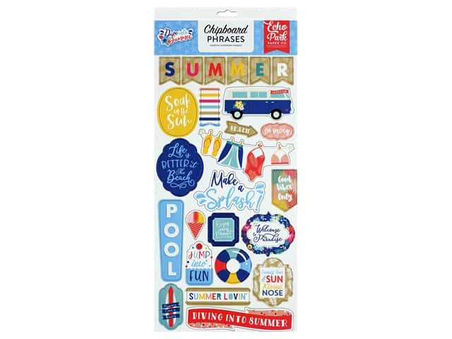 Echo Park Collection Dive Into Summer Chipboard 6 in. x 12 in. Phrases