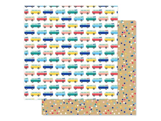 Echo Park Collection Dive Into Summer Paper 12 in. x 12 in. Adventure Bus