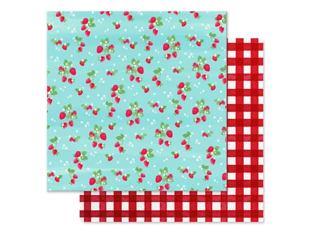 Carta Bella Collection Summer Market Paper 12 in. x 12 in. Strawberries