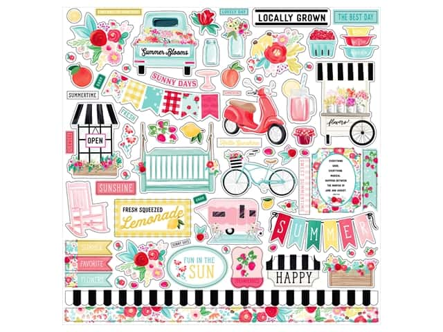 "Carta Bella Collection Summer Market Sticker 12""x 12""  Elements"